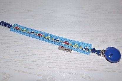 Bild von Schnullerband Autos blau Punkte