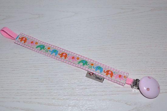 Bild von Schnullerband Elefant apricot/rosa kariert