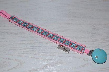 Bild von Schnullerband Eulenparade rosa Punkte