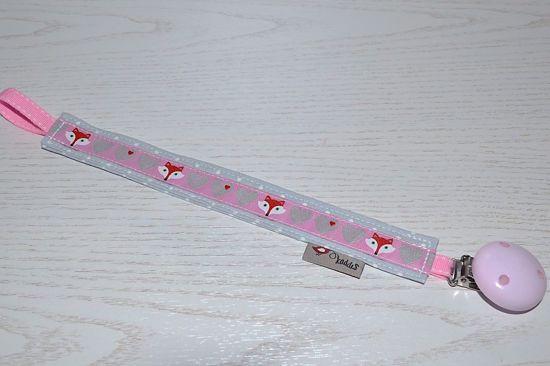 Bild von Schnullerband Fuchsmädchen rosa/grau Punkte