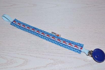 Bild von Schnullerband Fliegenpilzle blau Punkte