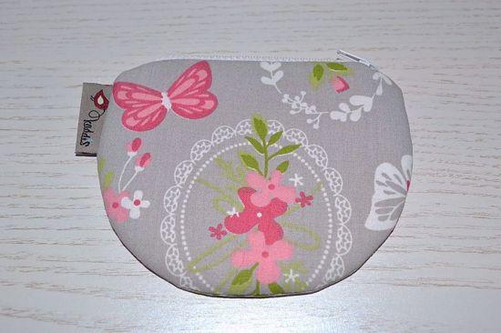 Bild von Minibörse Schmetterling grau/rosa