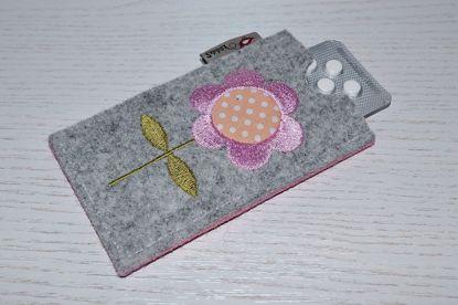 Bild von Tabletten-Etui Blümchen grau/rosa
