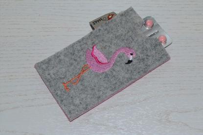 Bild von Tabletten-Etui Flamingo grau/rosa