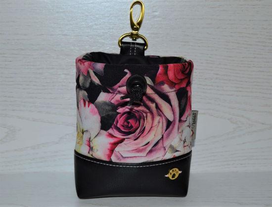 Bild von Futterbeutel Rosen Kunstleder/Softshell rosa/schwarz