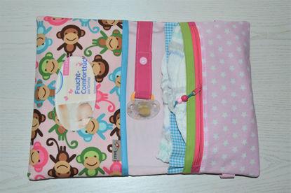 Bild von XL Windeltasche Äffchen rosa/pink