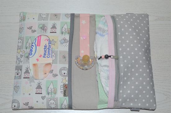 Bild von XL Windeltasche Allerlei grau/rosa/hellblau