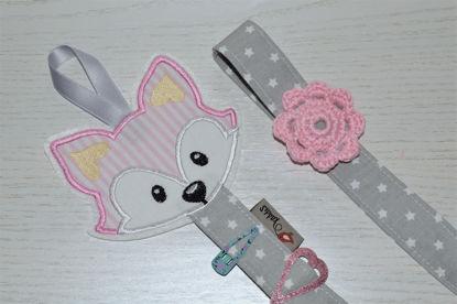 Bild von Haarspangenhalter Füchschen rosa/grau