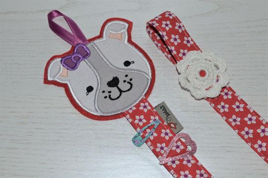 Bild von Haarspangenhalter Hund rot/lila