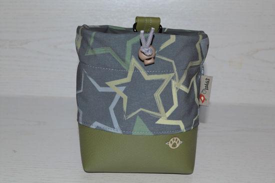Bild von Futterbeutel Sterne Kunstleder/Softshell grün/grau