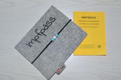 Bild von Impfass-Hülle Filz grau * türkis Perlen